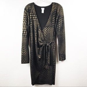 Cachè Metallic Long Sleeve Wrap Dress